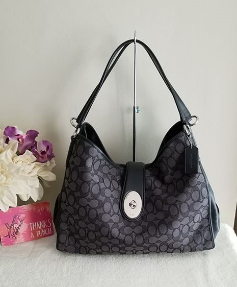 NWT COACH F56221 Caryle Signature Medium Hobo Shoulder Bag Smoke Black/Black
