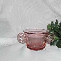 PRETTY PINK GLASS SUGAR BOWL HANDLES VINTAGE WEDDING BRIDAL TEA PARTY USED - $9.99
