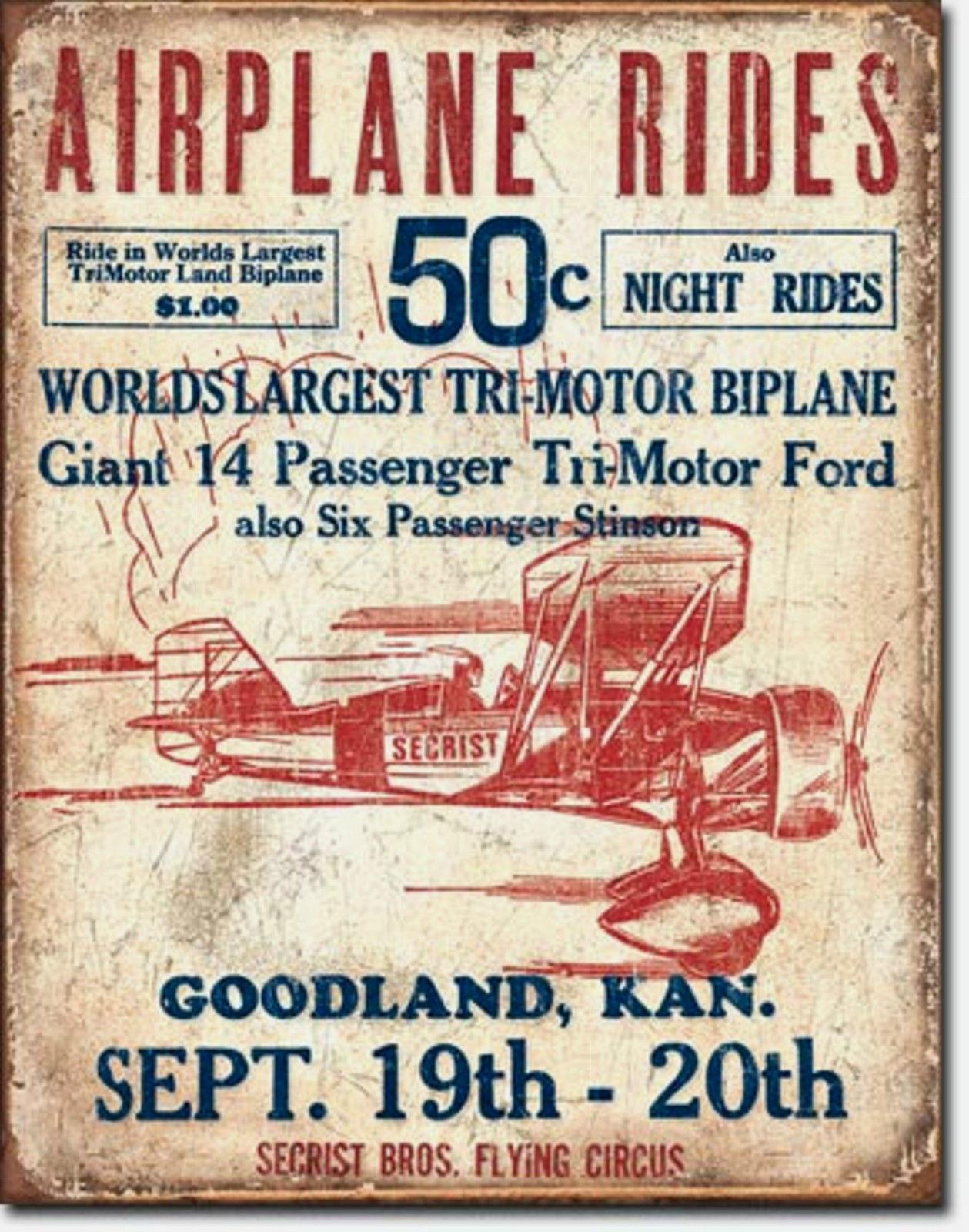 Airplane Rides Secrist Bros. Circus Metal Sign Tin New Vintage Style USA  #1872