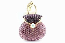 Purple Purse Bag Fashion Keychain Crystal Charm Cute Gift Pouch #MCK11 - $18.17
