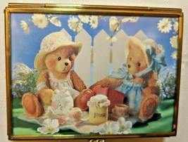 Via Vermont Trinket Box Teddy Bear Rose Glass and Brass - $13.95