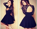 Sexy stitching lace backless long sleeve evening party dress thumb155 crop