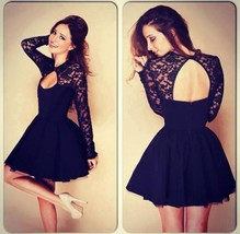 Sexy stitching lace backless long sleeve evening party dress thumb200