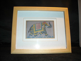 Framed Asian Indian Elephant Painting on Silk vintage