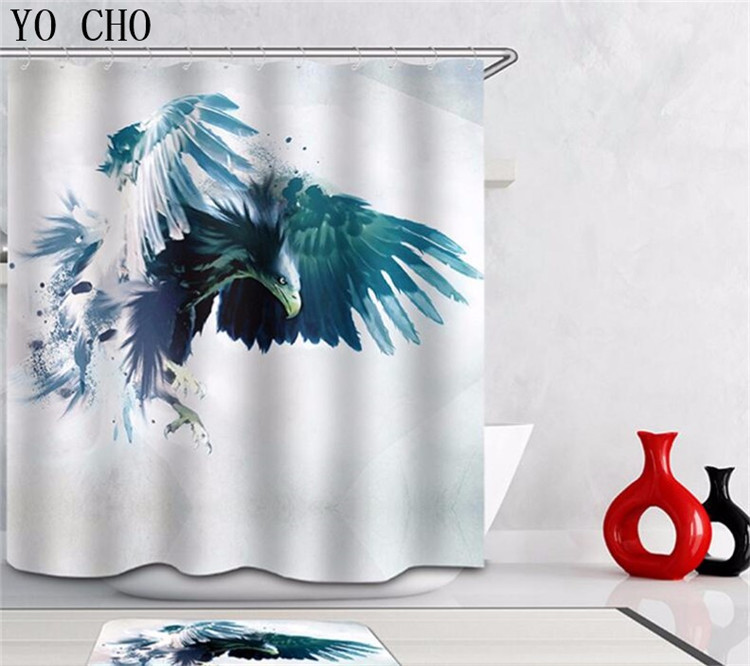 Primary image for Animal Raven 58 Shower Curtain Waterproof Polyester Fabric & Bath Mat Bathroom