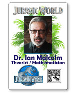 DR IAN MALCOLM JURASSIC WORLD NAME BADGE PROP HALLOWEEN COSPLAY MAGNET BACK - $14.84
