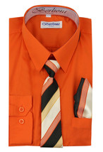 Berlioni Italy Kids Boys Long Sleeve Orange Dress Shirt Set With Tie & Hanky - 6