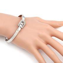 UE-Designer Silver Tone Bangle Bracelet, Buckle Clasp & Swarovski Style Crystals - $18.99