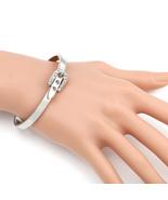 UE-Designer Silver Tone Bangle Bracelet, Buckle Clasp & Swarovski Style ... - $17.99