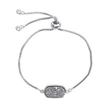TESS WORLD Silver Bracelet Silvery Oval Natural Drusy Geode Crystal Clus... - $15.09