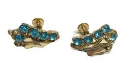 Vintage Leaf &  Light Blue Rhinestone Clip On Earrings ScrewBack GOLDTON... - $9.49
