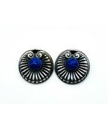 Antique Art Nouveau Sterling Silver Blue Mottle Art Glass Lily Pad Clip Earrings - $161.99