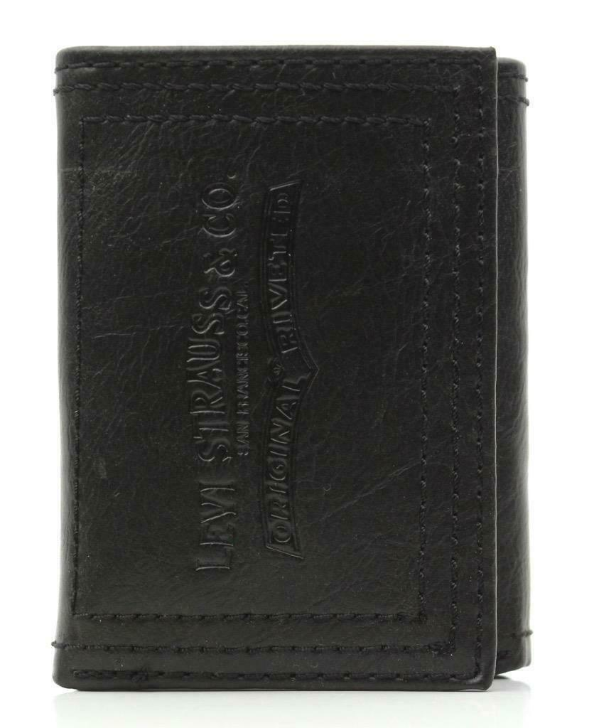 NEW LEVI'S MEN'S PREMIUM LEATHER CREDIT CARD ID WALLET TRIFOLD BLACK 31LP1122