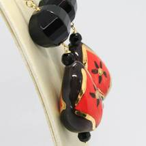 Yellow Gold Earrings 18K with Onyx and Ceramics Hand Painted by Made in Italy image 3