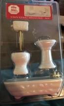 Vintage Decor Dollhouse Miniature Scale White Bathroom Set 3 pcs - $17.81