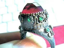 GARNET EMERALD RUBY STERLING SILVER 925 RING 8 OLD VINTAGE BOLD ELEGANT ... - $83.04