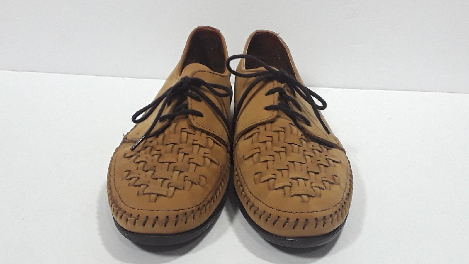 Vtg DEXTER Taupe Woven Oxfords in Box CASEY 9W Shoes Woven Lace Up Moccasins Tan