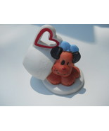 Puppy Dog & Cup With Heart Painted Porcelain Animal Figurine #Bd1 - $12.99