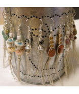 Hemp Macrame Sweeper Earrings Handcrafted Custom Made Gemstones Crystals Beads - £13.85 GBP