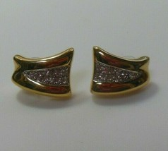 Signed Crown Trifari Gold Tone Clear Rhinestone Pierced Earrings - $14.84