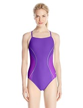 Speedo Women's Power Flex Eco Revolve Splice Energy Back One Piece Swims... - $44.95