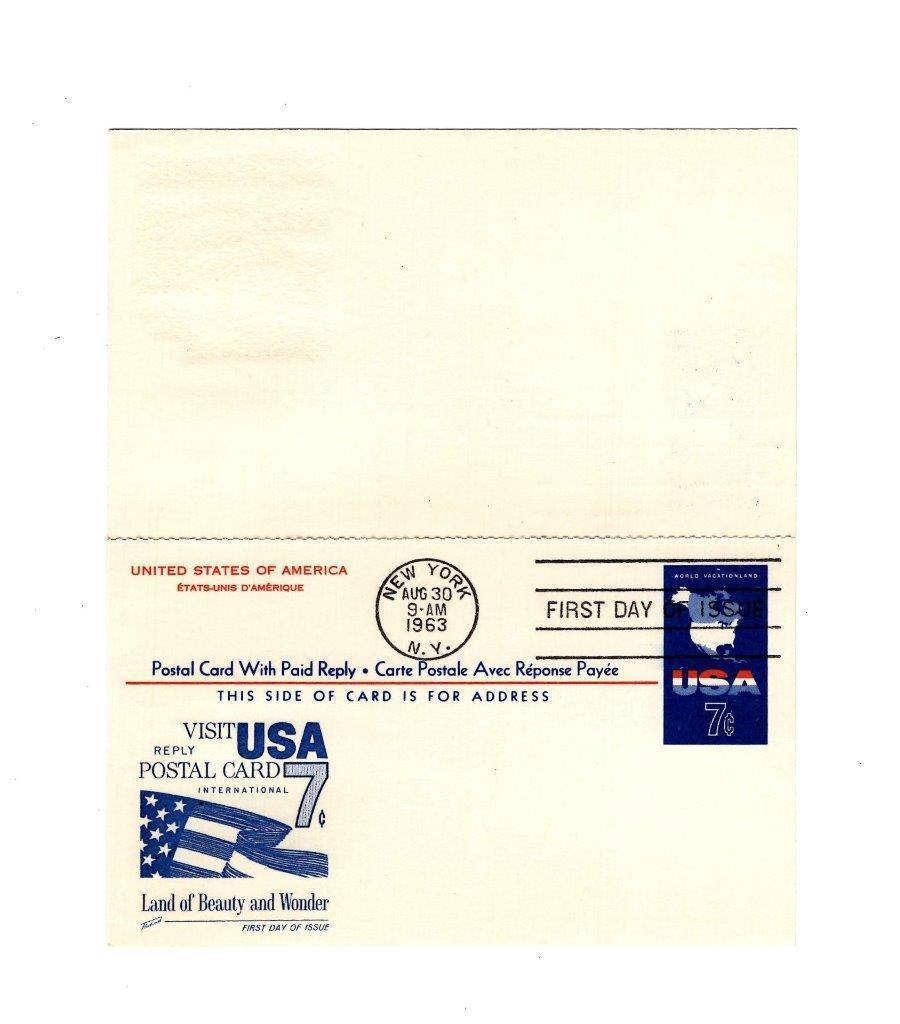 POSTCARD-FDC  POST CARD WITH PAID REPLY- USA 7c INTERNATIONAL CARD 1963  BK12