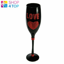 LOVE CHAMPAGNE WINE GLASS FLUTE RED BLACK BOXED GLITTER WOMAN NOVELTY EL... - $8.60