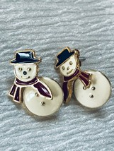 Estate Reticulated Cream Enamel Snowman w Black Top Hat & Red Scarf Gold... - $6.79