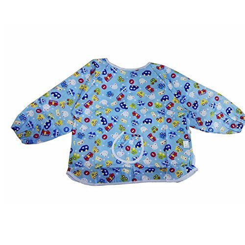 2 PCs Blue Car Cotton Waterproof Sleeved Bib Baby Feeding Bibs for 1-2 Years Old