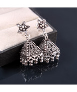 Pansy Floral Sterling Silver Jhumka Earrings, Traditional Bridal Earrings - $57.00
