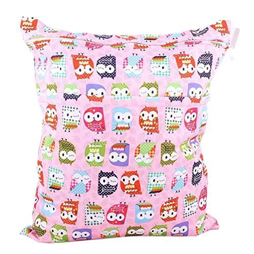 Pink Owl Wet Bags Waterproof Diaper Bag Multi-function Nappy Bag - 1411 inches