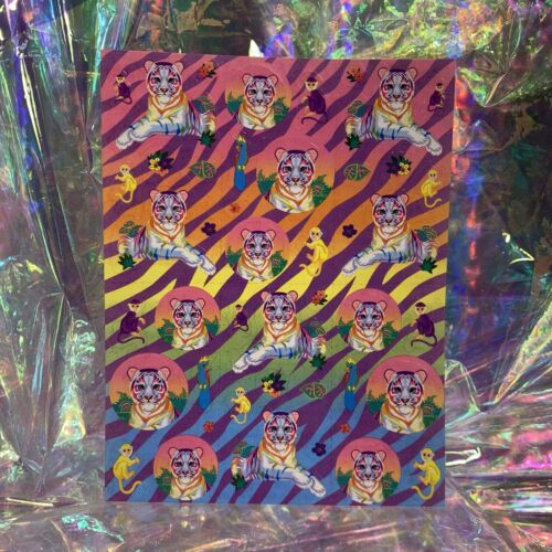 S363 Mint Lisa Frank  Rainbow White Tiger Stickers Full Sheet Rare HTF