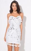 Shimmy Shimmy White Fringe Tassel Sequin Strapless Bodycon Mini Dress - $89.99