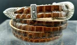 BROWN HATBAND Faux ALLIGATOR Genuine LEATHER and Buckle Set Cowboy Hat Band - $11.39