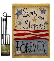 Stars & Stripes Burlap - Impressions Decorative Metal Garden Pole Flag S... - $33.97