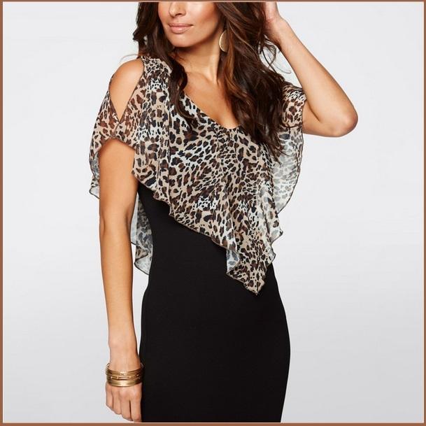Leopard Print Ruffled Sheer Chiffon Collar Sleeveless Black Pencil Mini Dress
