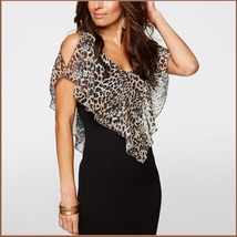 Leopard Print Ruffled Sheer Chiffon Collar Sleeveless Black Pencil Mini Dress image 3
