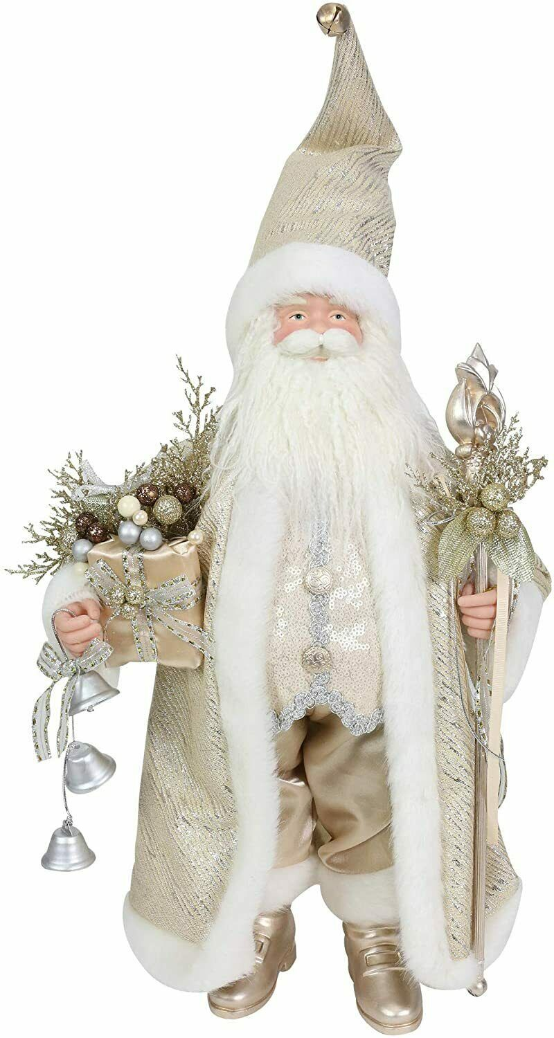 "Elegant Christmas Santa Statue 20"" w Gold & Sequin Accents Faux Fur & Gold Robe"