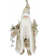 "Elegant Christmas Santa Statue 20"" w Gold & Sequin Accents Faux Fur & Go... - $46.52"
