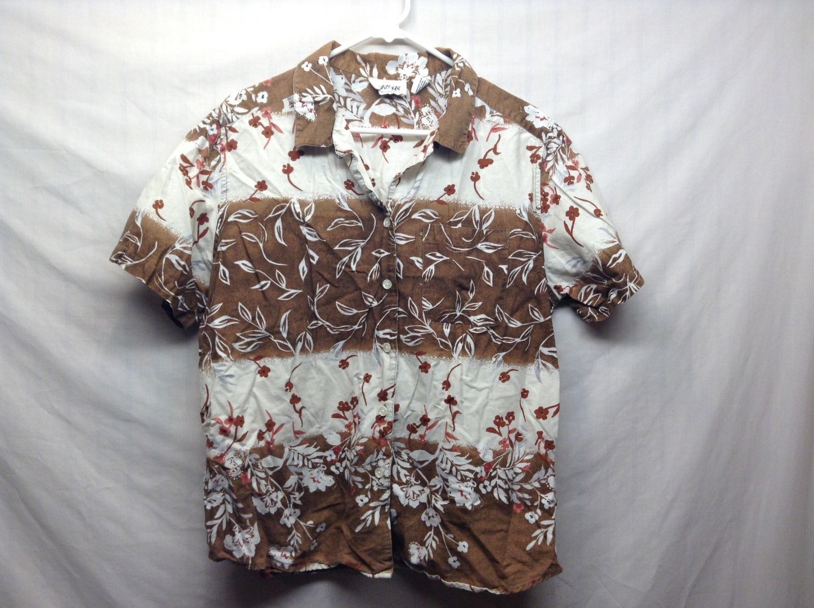 Krazy Kat Short Sleeve Collared Button Up Brown White Shirt Sz 1X