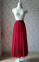 DARK RED Chiffon Maxi Skirt Women Full Maxi Chiffon Skirt Dark Red Wedding Skirt image 1