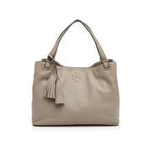 New Tory Burch Thea Center Zipper Leather Tote French Gray - $335.00