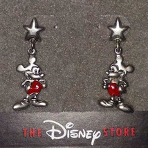 Disney Mickey Mouse Star Antique SILVER/ENAMEL EARRINGS**RARE/NEW**1 Left!!! - $23.99