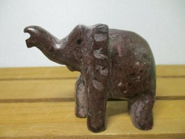 "Beautiful Carved Stone Elephant Figurine - approx 3"" x 3"" - $6.35"
