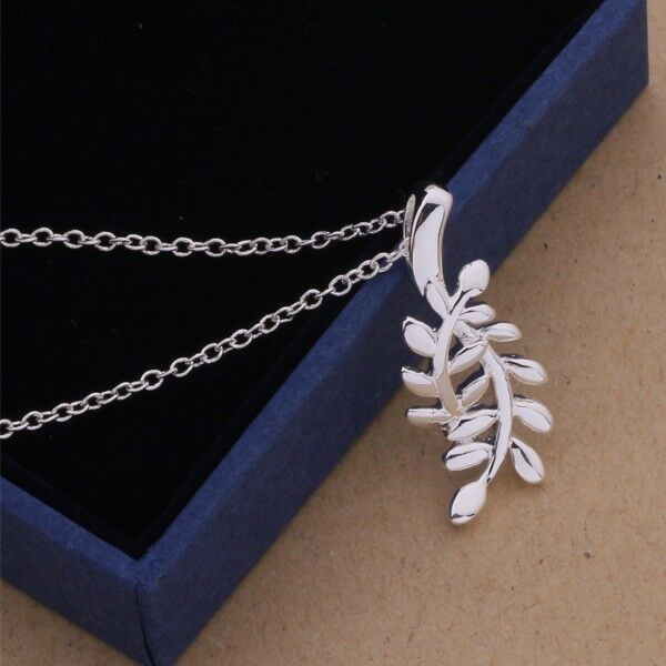 Primary image for Delicate Leaf Pendant Necklace 925 Sterling Silver NEW