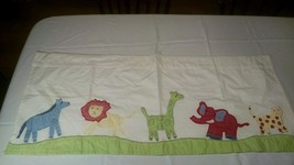 "POTTERY BARN KIDS JUNGLE SAFARI VALANCE 44"" X 18"" COTTON LION TIGER GIRA... - $9.49"