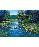 Original Oil Painting Okla landscape Salt Creek miniature  - $5.00