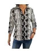 SNO SKINS Large black off white snakeskin textured knit 3/4 sleeve jacke... - $38.61