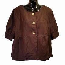 Brown Mod Jacket East 5th Womens Size L Short Bubble Sleeve Lined f796 - $16.49