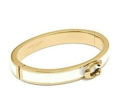 NWT COACH Signature Push Hinged Bangle Bracelet Jewelry Gold Chalk White... - $47.52